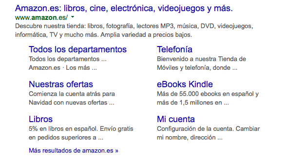 Enlaces de sitio de Amazon