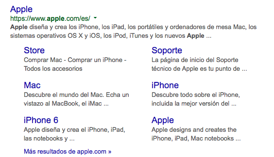 Enlaces de sitio de Apple