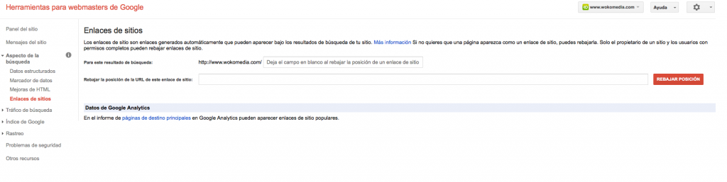 Enlaces de sitio en Google