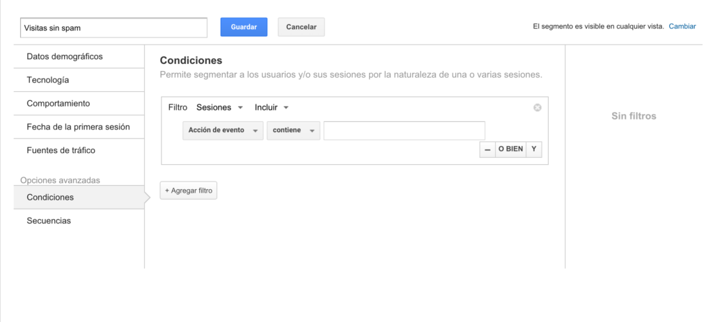 Eliminar tráfico spam en analytics