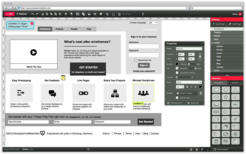 hotgloo wireframes