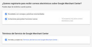 Aceptar políticas Google Merchant Center